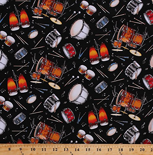 - Cotton Drums Drum Sets Drummers Congas Bongos Snare Bass Tambourines Drum Sticks Mallets Percussion Instruments Musical Notes Music Musicians Live Jazz Cotton Fabric Print by the Yard (239-BLACK)