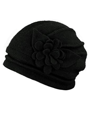 5e03d0bfc Dahlia Women's Elegant Flower Wool Cloche Bucket Slouch Hat
