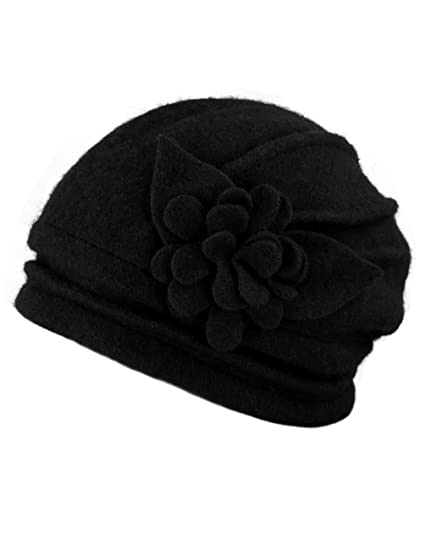 3f996865d2f Dahlia Women s Elegant Flower Wool Cloche Bucket Slouch Hat - Black ...