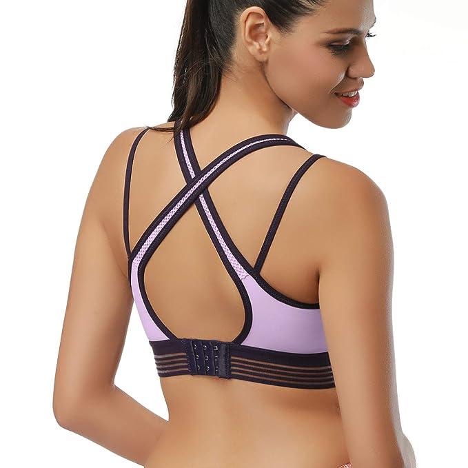 La mujer sujetador deportivo bra, SIHOHAN el diseño de la espalda de yoga la cruz de retenciones de sujetadores deportivos run bra: Amazon.es: Ropa y ...