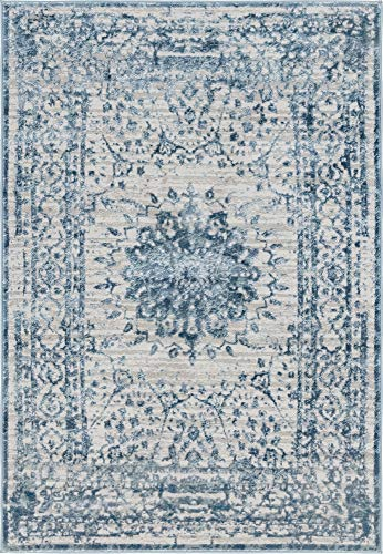 - Unique Loom Aberdeen Collection Textured Traditional Vintage Tone-on-Tone Light Blue Area Rug (4' 0 x 6' 0)