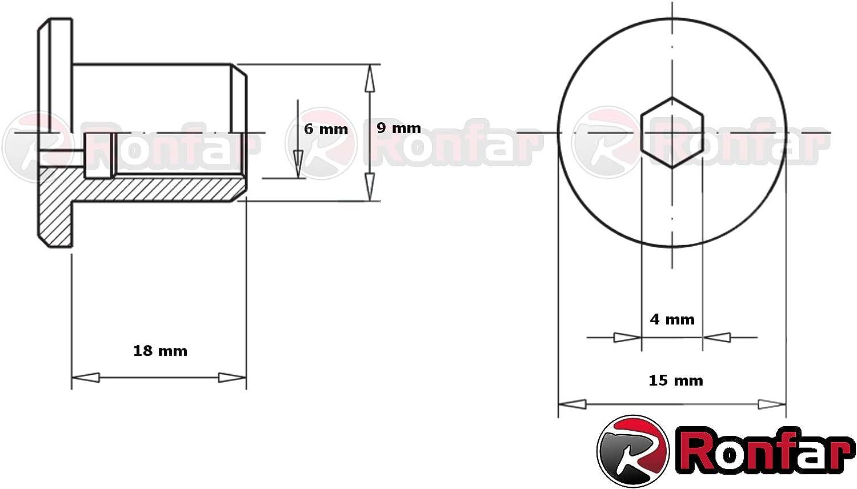 RONFAR Tuerca de manguito con cabeza plana Hexagonal M6 x 15 x 18 mm 100 piezas