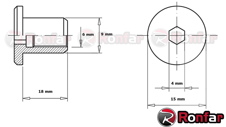 RONFAR H/ülsenmutter mit Flachkopf-Innensechskant M6 x 15 x 15 mm 100 St/ück