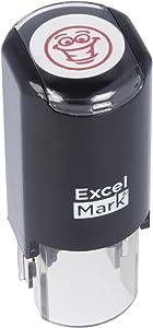 Smiley Face - ExcelMark Self-Inking Round Teacher Stamp - Red Ink