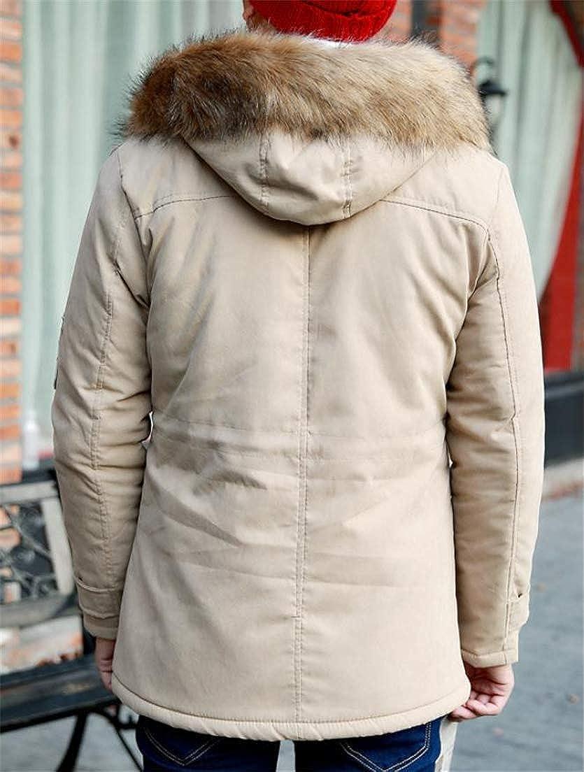 Cromoncent Mens Fleece Faux Fur Hooded Anorak Outside Parka Coat