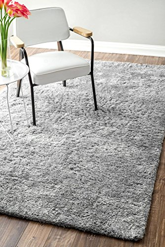 nuLOOM Cloud Collection 100-Percent Polyester Area Rug, 7-Feet 6-Inch by 9-Feet 6-Inch, Shag, Lt Grey by nuLOOM