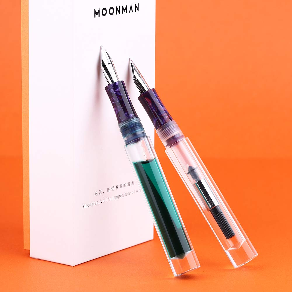 2019 Updated Moonman C1 Fountain Pen Fine Nib, Clear Transparent Acrylic Resin, Mini Pocket Pen, Eyedropper,Cartridges and Converter Filling by Lanxivi