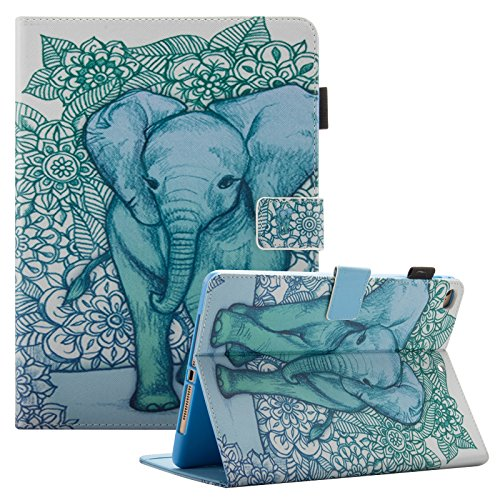 iPad 9.7 inch 2018 2017 Case/iPad Air Case/iPad Air 2 Case, Dteck PU Leather Folio Smart Cover with Auto Sleep Wake Stand Wallet Case for Apple iPad 6th/5th Gen,iPad Air 1/2, Green Elephant