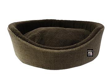 Barkshire - Cesta ovalada de espuma para pared de perro, cama con volantes y forro