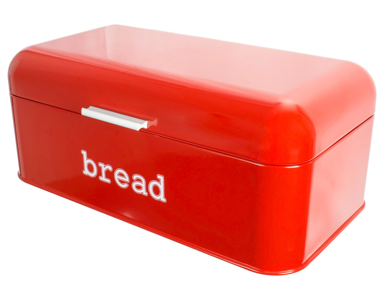 Juvale Bread Box for Kitchen Counter - Stainless Steel Bread Bin Storage Container For Loaves, Pastries, and More - Retro/Vintage Inspired Design, Red, 16.75 x 9 x 6.5 inches