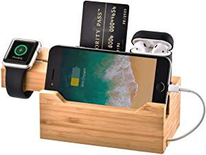 MOZOWO Bamboo Desktop 3 USB HUB Charging Dock Station Charger Holder Cradle Stand Compatible iPhone 11Pro Max XS XR X 8 7 6 6S Plus Apple Watch 2 3 4 / iWatch 38mm & 42mm AirPods Samsung Smartphones