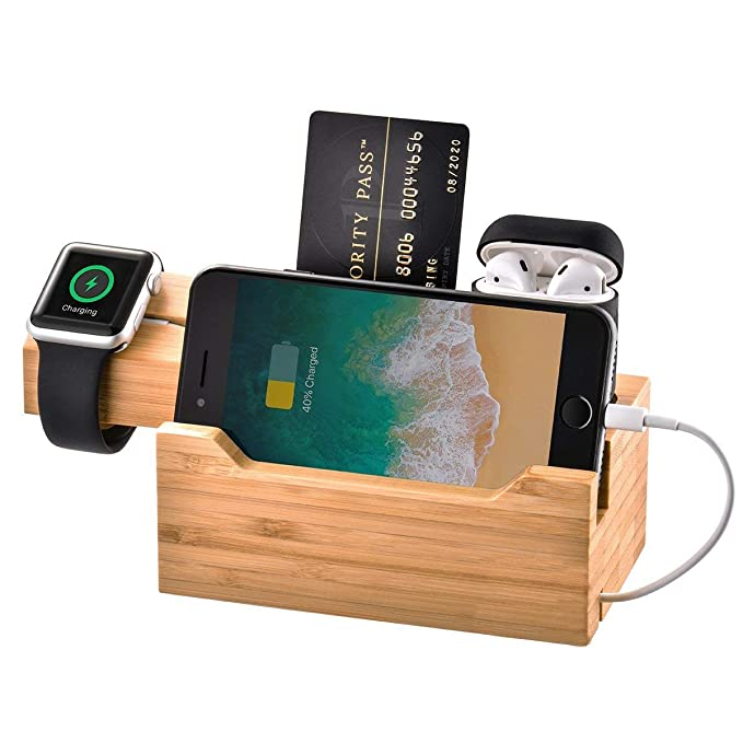 924571293 Feitenn iPhone Wooden Stand Charger Bamboo Wood Apple iWatch Airpods Charging  Station Desktop Stand 3 USB