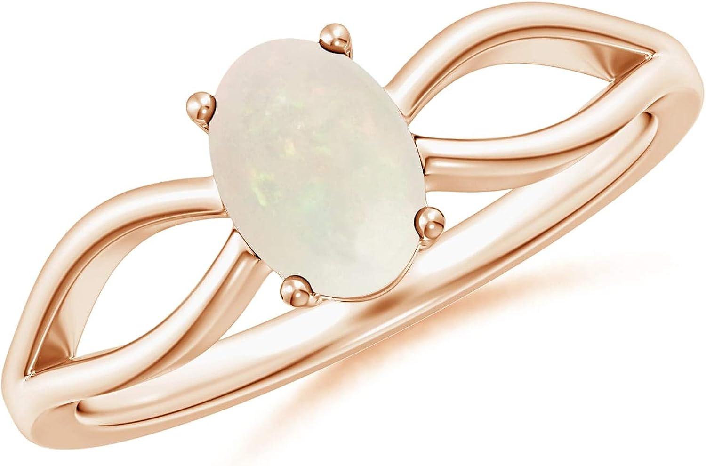 Prong-Set Solitaire Natural Opal Split Shank Ring 7x5mm Opal