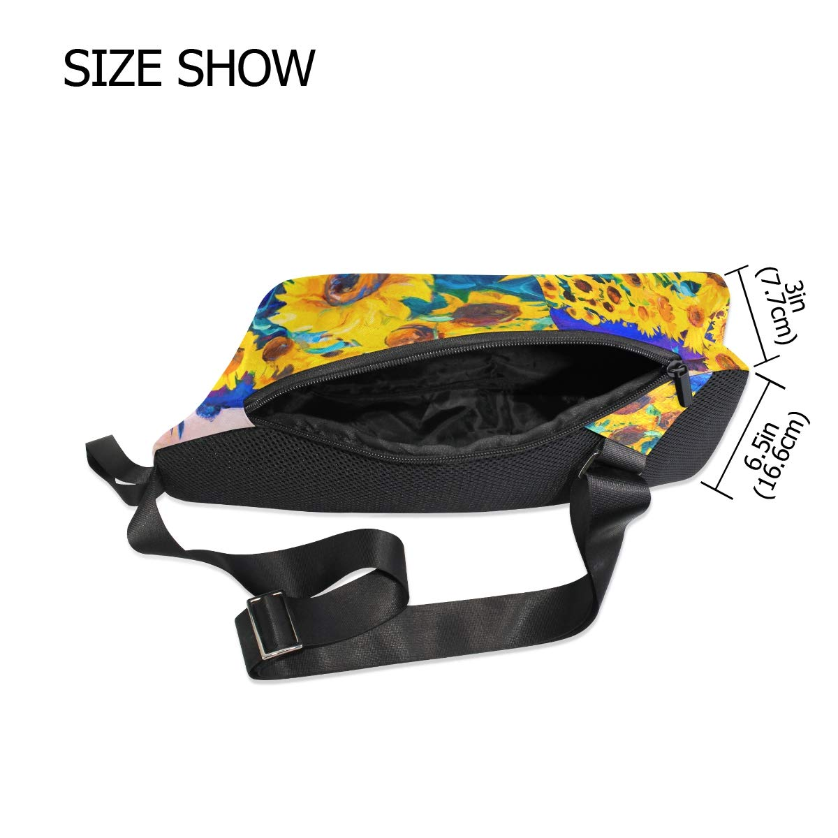 TFONE Watercolor Sunflower Floral Crossbody Bag Lightweight Chest Shoulder Messenger Pack Backpack Sling Bag