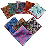 9PCS Pocket Square for Men Paisley Handkerchief Set For Wedding Party Assorted Colors