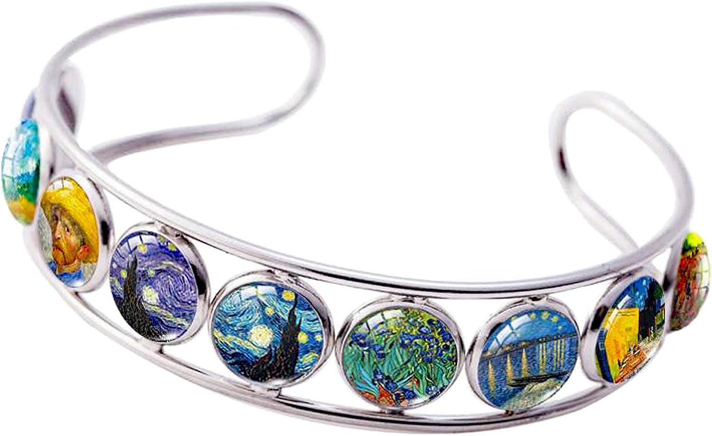 Cuff Bracelet Van Gogh Under Glass Dome Jewelry Handmade Teens/Woman
