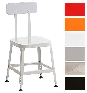 Clp Chaise En Métal Easton Chaise De Cuisine à 4 Pieds Chaise De Salle à Manger Avec Dossier Style Industriel Blanc