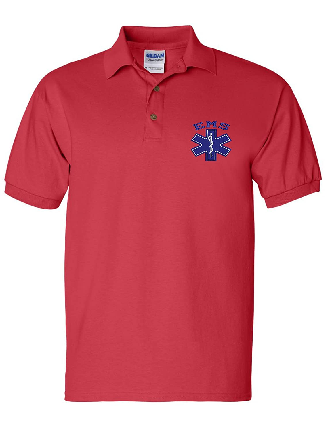 Allntrends Men's Polo T Shirt EMS Embroidered Emergency Medical Services Shirt
