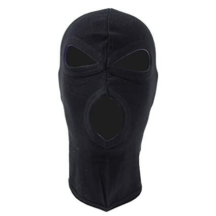 9811400235c Image Unavailable. Image not available for. Color  MFH 3 Hole Balaclava  Lightweight Cotton Black