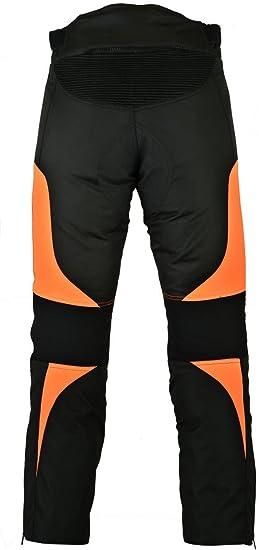 Herren Hose Aus Textil Cordura Für Motorrad Wasserdicht Unterhosen In Allen Größen Erhältlich Schwarz Orange 36 Sport Freizeit