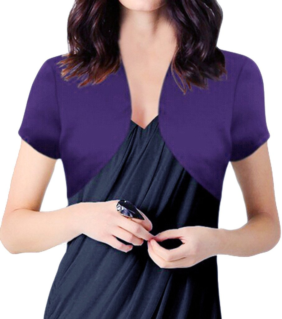 Alivila.Y Fashion Womens Satin Short Sleeve Bolero Shrug A28-Purple-XS