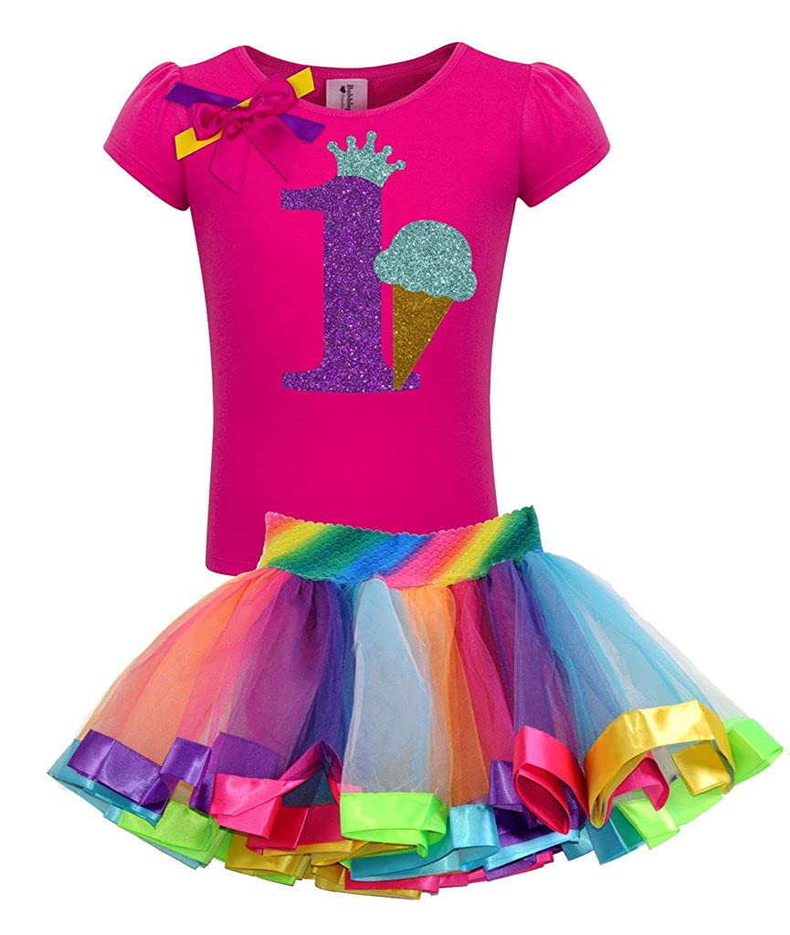 Bubblegum Divas Little Girls 1st Birthday Ice Cream Cone Shirt Rainbow Tutu Outfit
