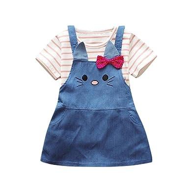 0f9f9fe2bb Longra Baby Girl Mother s Day 2Pcs Clothes Set- Newborn Infant Toddler  Stripe Cat Print Tops