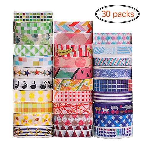 Ninico Washi Tape Set of 30,Decorative Adhesive Paper Masking Tapes 10MM Wide,Writable Sticky Tape Set for Scrapbooking/Craft
