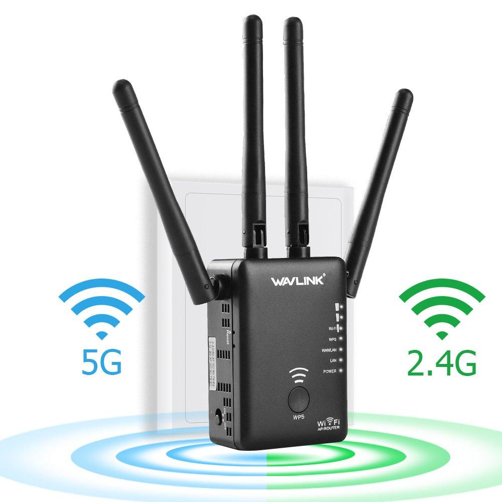 Wavlink, AC1200, Ripetitore WiFi, router Dual Band (2.4GHz 300 Mbps + 5 GHz 867 Mbps), punto d' accesso WLAN, WiFi Hotspot, amplificatore di segnale con 4 antenne esterne flessibili, 2 porte Gigabit, sicurezza WPS, indicatore