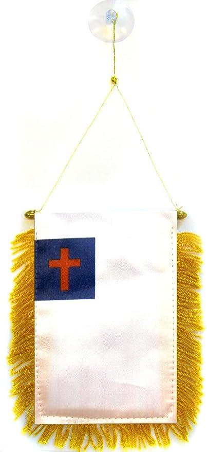 AZ FLAG BANDERIN de la RELIGIÓN Cristiana 15x10cm con Ventosa - BANDERINA Cristiana 10 x 15 cm para Coche: Amazon.es: Jardín