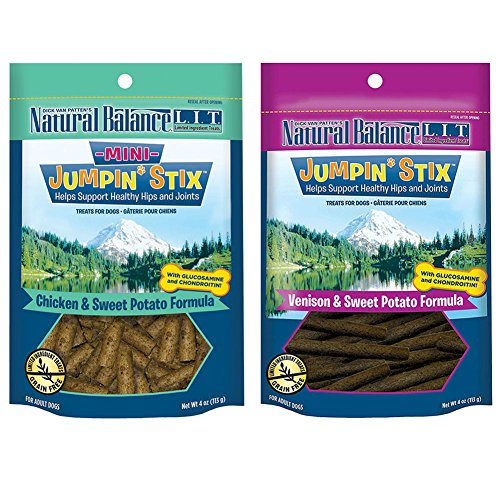 Natural Balance L.I.T. Limited Ingredient Treats Jumpin' Stix Dog Treats Variety Pack - 4 Ounces - 2 Flavors - Venison & Sweet Potato and Chicken & Sweet (Variety Stix)