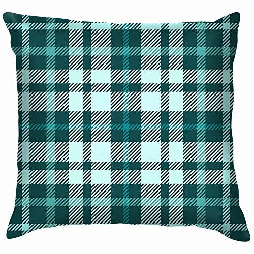 Tartan Plaid Shades Teal Vintage Throw Pillows Covers Accent Home Sofa Cushion Cover Pillowcase Gift Decorative 16X16 Inch]()