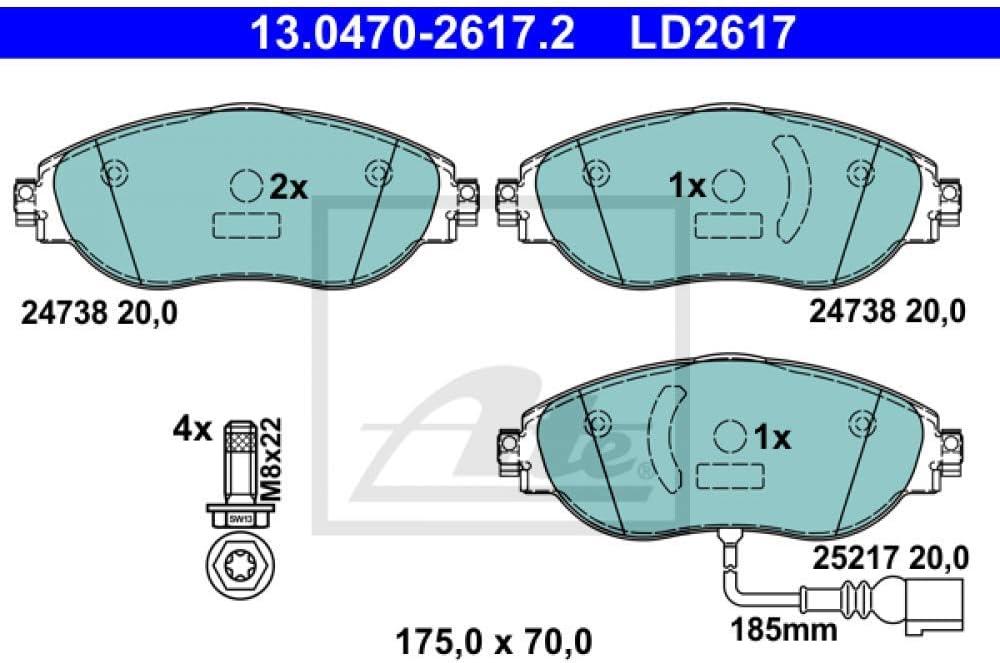 ATE 13.0470-2617.2 Bremsbelagsatz Scheibenbremse