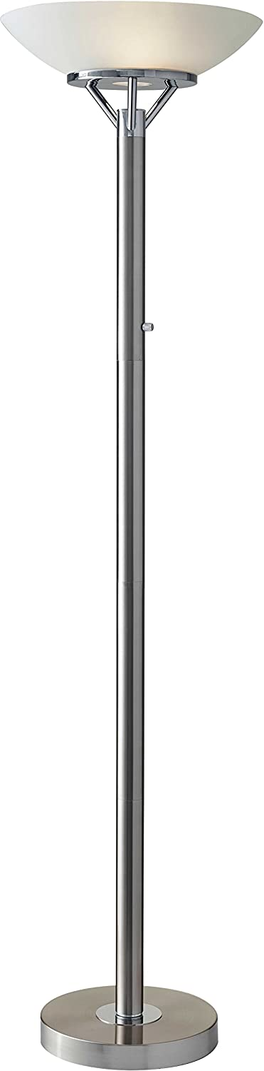 """Adesso 5023-22 Expo Floor Lamp, Satin Steel, Smart Outlet Compatible, 18"""" x 18"""" x 71.5"""""""