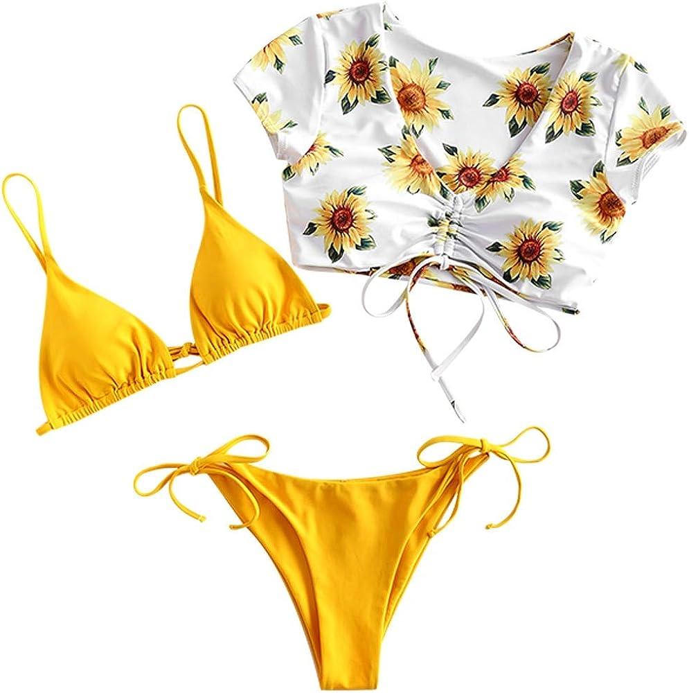 Tie-Dye-Druck Spitze Dreieck Cup Niedrigtaile gebundene Badeshorts ZAFUL Gepolsterte Bikini Set