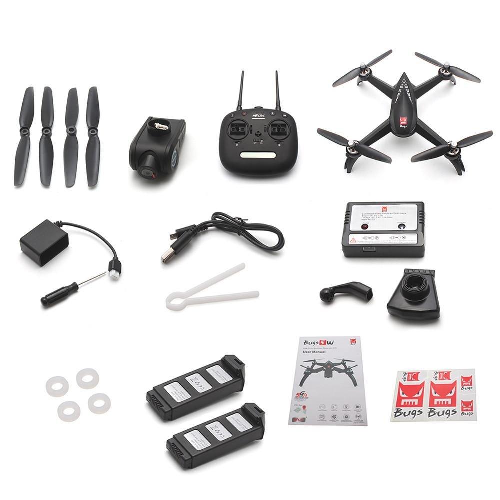 MJX Bugs 5 W GPS WIFI UAV FPV RC Quadcopter con 1080p 5 G HD cámara WIFI/1806 1500 kv Brushless Motor/altura Mantener/headless Modo/1 de Key Return Home/FOLLOW Me multicolor Talla:Bugs 5W + 2 Batterie