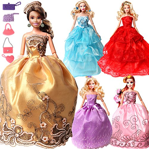 Pack of 5 Colorful Handmade Clothes 360°Sewing Party Wedding Dress Gown Mini Skirts For 11.5 Inches Girl Barbie Doll(Style B)