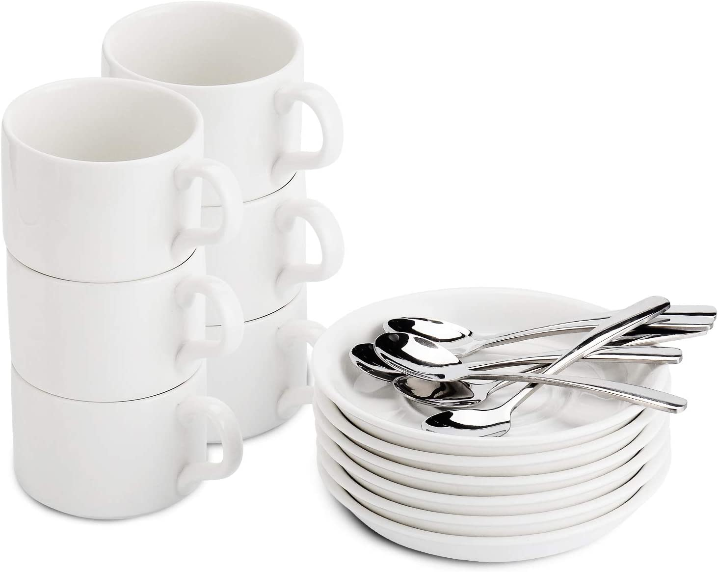 EZY Homeware Lot de 6 Tasses /à Caf/é Expresso avec Cuill/ères et Soucoupes
