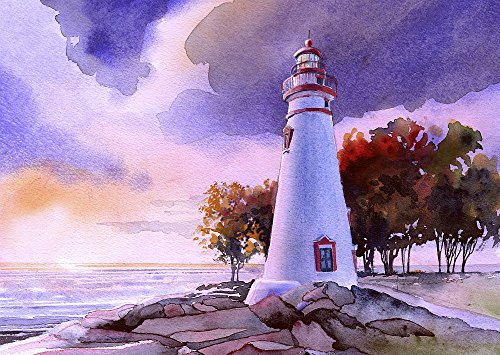 Marblehead Lighthouse Sunset, Lake Erie, Ohio, by James Mann. Matted Watercolor Art Prints ()