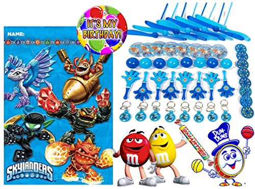 """Skylander (8) Pre-Filled Toy & Candy Party Favor Goodie Bags! Plus Bonus """"It's My Birthday"""" Button!"""