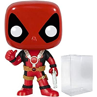 Marvel: Deadpool with Thumbs Up Funko Pop! Vinyl Figure (Includes Compatible Pop Box Protector Case): Toys & Games