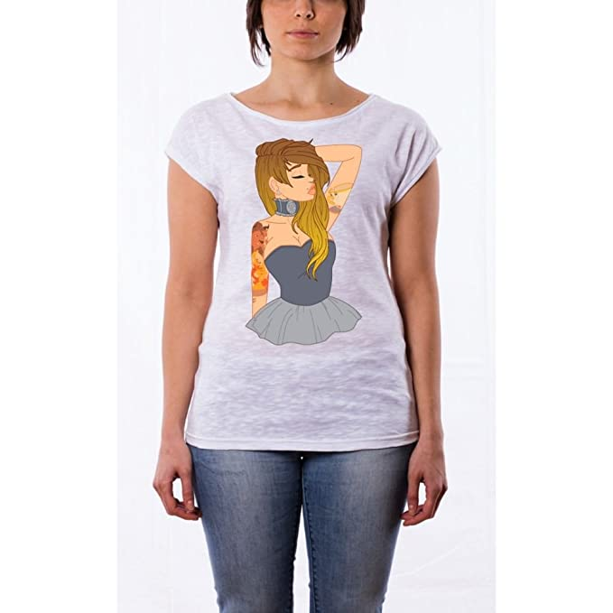 Camiseta de algodón peinado Princesas Tatuadas – Bella Bianco Large : Amazon.es: Ropa y accesorios