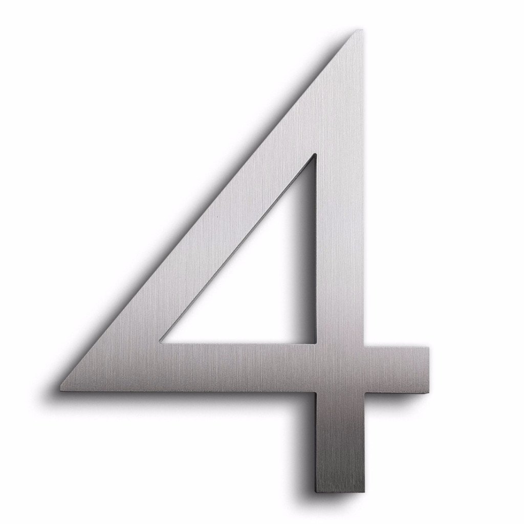 Modern House Number Aluminum Modern Font Number Four 4 - 8 inch