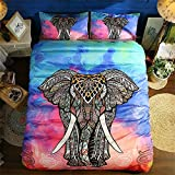 BeddingHome Bohemian India Elephant 3 pcs Comforter Cover Set(2 Pillow Shams)-Fashion Soft Bedding Set 2018-King
