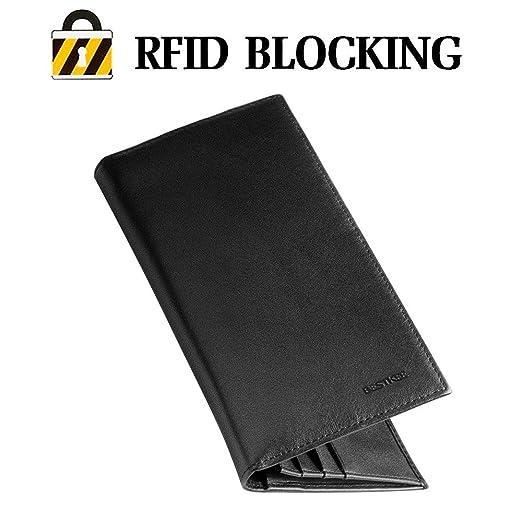 3 opinioni per BESTKEE Portafoglio di cuoio genuino RFID bloccante Protezione per titolari di