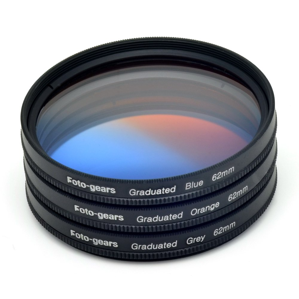 62mm Graduated Colour Filter set Graduated Grey + Blue + Orange Filter Kit