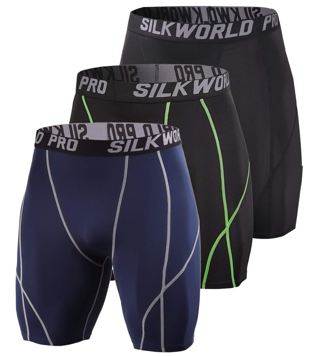 SILKWORLD Men's 3 Pack Running Tight Compression Shorts, Black, Black(Green Stripe), Dark Navy Blue, L by SILKWORLD