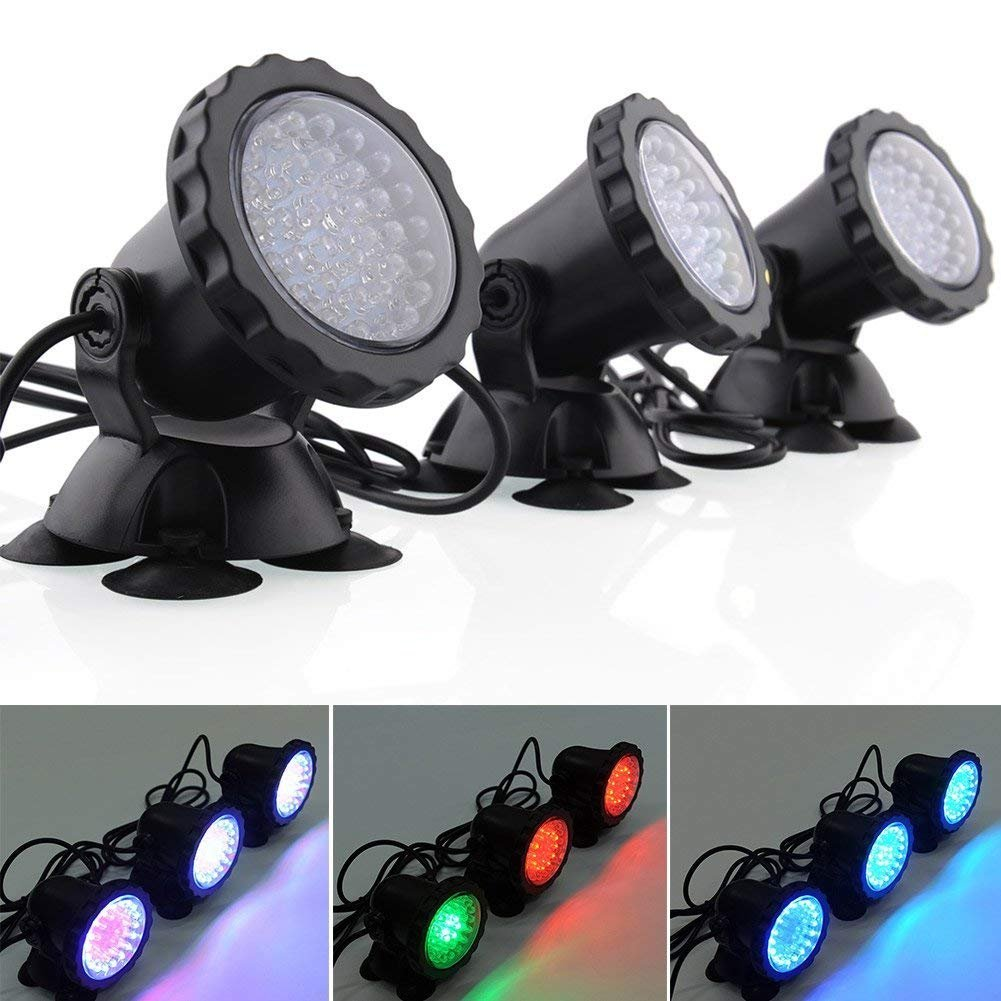 Deckey Waterproof 36 LED Submersible Spotlight Landscape Lamp Aquarium Fish Tank, Garden Fountain, Pond Pool (3 Pack)