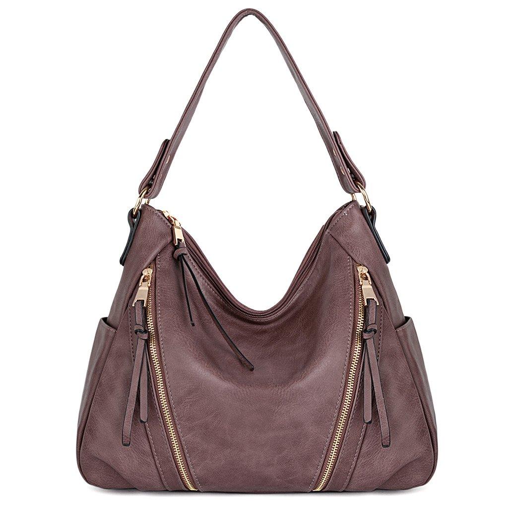 UTO Women Handbag PU Leather Purse Double Zipper Hobo Style 3 Ways Shoulder Bag A Purple