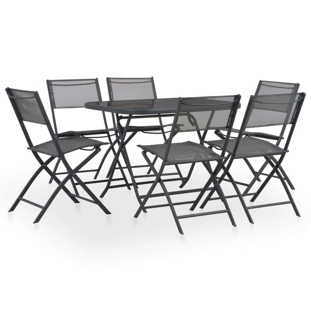 Festnight Conjunto de Muebles Plegables Muebles Exterior de Jardín Terraza Exterior Mesa y Sillas Acero y Textileno Gris 7 pzs